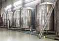 Modern brewery with stainless steel tanks Royalty Free Stock Photo
