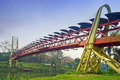 Modern bridge architecture across river Royalty Free Stock Photos