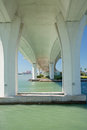 Modern bridge architecture under the clearwater memorial causeway facing the gulf beaches showing curvature and detail in its with Royalty Free Stock Image