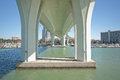 Modern bridge architecture under the clearwater memorial causeway facing inland showing a curve and detail in its with a marina in Stock Photography