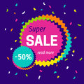 Modern bright colorful super sale banner template.