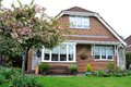 Modern british House with garden Royalty Free Stock Photo