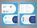 Modern brochure, abstract flyer, simple design with rounded shapes. Layout template. Aspect Ratio for A4 size. Poster of blue, dar Royalty Free Stock Photo
