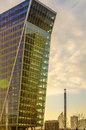Modern building of glass and the hague cityscape skyscraper entrance at colorful sunset business area in netherlands Stock Photography