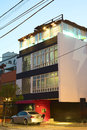 Modern building in miraflores lima peru march the evening a street on march is one of the most Royalty Free Stock Photo