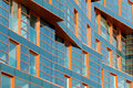 Modern building mirror facade in blue tone Royalty Free Stock Photo