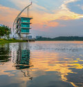 Modern building sunrise putrajaya iv architecture and at lake malaysia Royalty Free Stock Photography