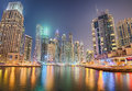 Modern buildings in Dubai Marina district at night Royalty Free Stock Photo