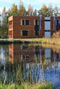Modern buildings on the lake new residential building Royalty Free Stock Image