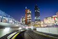 Modern buildings and ramp at night, in Donau City, in Vienna, Au Royalty Free Stock Photo