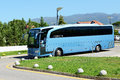 The modern bus for tourists transportation peloponnes greece june and driver are near hotel on june in peloponnes greece up to mln Royalty Free Stock Photography