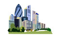 Modern business centre illustration city collection Royalty Free Stock Photography