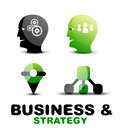 Modern business and strategy icon set vector Stock Photos