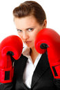 Modern business woman with boxing gloves Royalty Free Stock Image