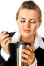 Modern business woman enjoying flavored coffee Royalty Free Stock Photo