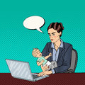 Modern Business Woman Working on Laptop and Holding Baby. Pop Art. Vector Royalty Free Stock Photo