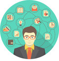 Modern businessman concept conceptual illustration of young with different icons of his activity Stock Photo