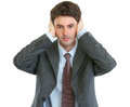 Modern businessman hear no evil Royalty Free Stock Photo