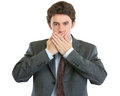 Modern businessman speak no evil Royalty Free Stock Photo