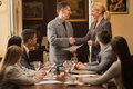 Modern bussinespeople shake hands after signing the agreement Royalty Free Stock Photo