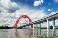 Modern cable stayed bridge in moscow zhivopisny Royalty Free Stock Photos