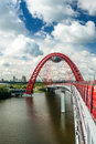 Modern cable stayed bridge in moscow zhivopisny Stock Photography