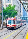 Public Transit Train in Downtown Calgary Royalty Free Stock Photo