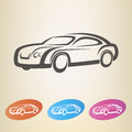 Modern car outlined symbol silhouette Stock Images