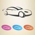 Modern car outlined vsymbol silhouette symbol Royalty Free Stock Photos