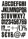 Modern Cargo Or Traffic Overspray Stencil Vector Font with Uppercase Letters, Numbers & Signs Royalty Free Stock Photo