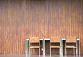 The modern chair and table with wodden wall Royalty Free Stock Photos