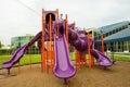 Modern children playground in park purple Stock Photography