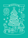 Modern christmas cartoon illustration with line art style tree santa claus Royalty Free Stock Photos