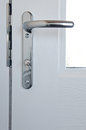 Modern chrome high security door lock great home crime prevention concept Royalty Free Stock Photos