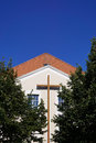 Modern church building with christian cross Royalty Free Stock Photo