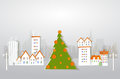 Modern city in Christmas. Background made of paper Royalty Free Stock Photo