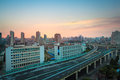 Modern city highway overpass sunrise Stock Photos