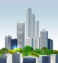 Modern city illustration with skyscrapers collection Royalty Free Stock Photography