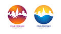 Modern city logo design real estate company in two examples of colors clean with high quality Royalty Free Stock Image
