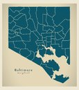Modern City Map - Baltimore Maryland city of the USA with neighb