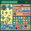 Modern city map elements for generating your own infographics m maps vector illustration Stock Photography