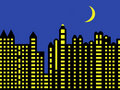 Modern city skyline at night Royalty Free Stock Photography