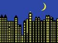 Modern city skyline at night Royalty Free Stock Photography
