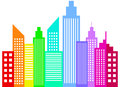 Modern city skyscrapers buildings silhouettes rainbow colored vector illustration Royalty Free Stock Photos