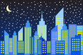 Modern city skyscrapers skyline in night vector illustration Stock Photos