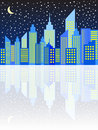 Modern city skyscrapers skyline in night vector illustration Stock Images
