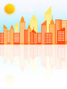 Modern city skyscrapers skyline on sunny day vector illustration Stock Photography