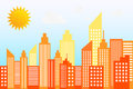 Modern city skyscrapers skyline on sunny day vector illustration Royalty Free Stock Images