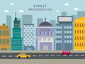 Modern city street concept in flat design Royalty Free Stock Photo