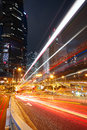 Modern city traffic at night Royalty Free Stock Photo